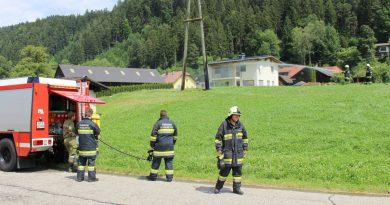 Brand eines Strommasten in Baldersdorf