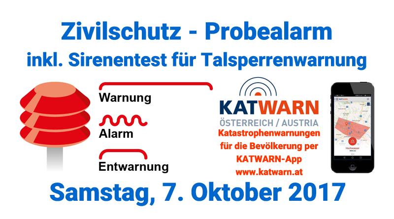 Zivilschutzprobealarm am 7. Oktober 2017